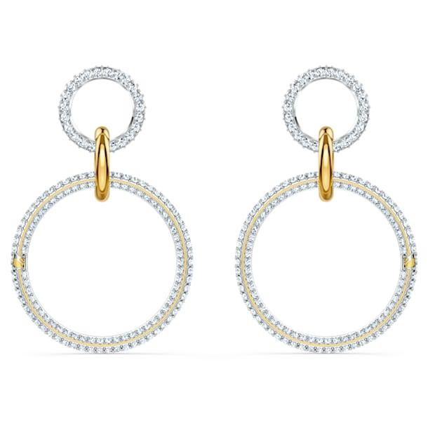 Τρυπητά σκουλαρίκια κρίκοι Stone, λευκά, φινίρισμα μεικτού μετάλλου - Swarovski, 5523991