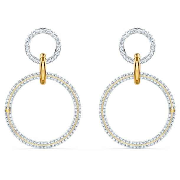스와로브스키 귀걸이 Swarovski Stone Hoop Pierced Earrings, White, Mixed metal finish