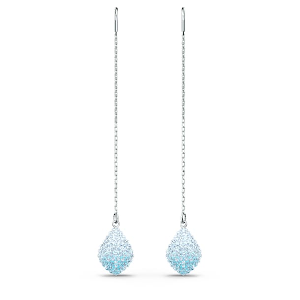 Fun Pierced Earrings, Aqua, Rhodium plated - Swarovski, 5524054