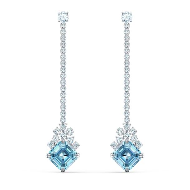 Sparkling Linear 穿孔耳环, 海蓝色, 镀铑 - Swarovski, 5524138