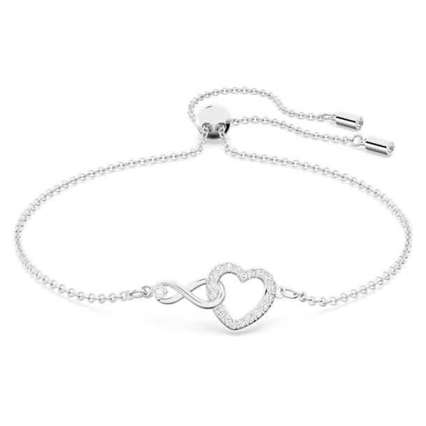 Βραχιόλι Swarovski Infinity, Άπειρο και καρδιά, Λευκό, Επιμετάλλωση ροδίου - Swarovski, 5524421