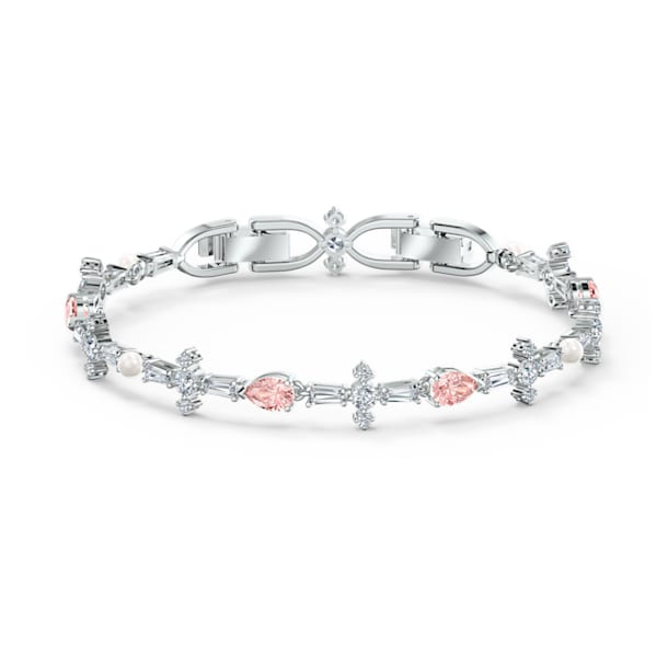 Perfection Bracelet, Pink, Rhodium plated - Swarovski, 5524544