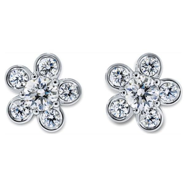 Bloom Stud Earrings, Swarovski Created Diamonds, 18K White Gold - Swarovski, 5524693