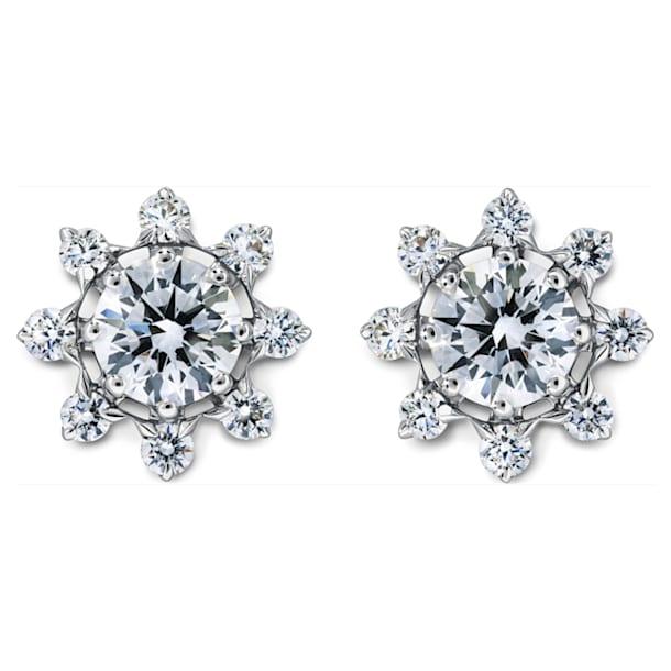 Bloom Pointed Stud Earrings, Swarovski Created Diamonds, 18K White Gold - Swarovski, 5524711
