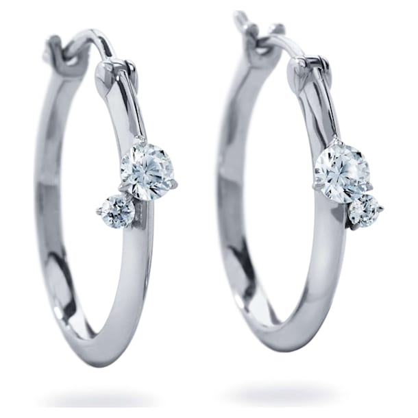 Intimate Hoop Earrings, Swarovski Created Diamonds, 18K White Gold - Swarovski, 5524712