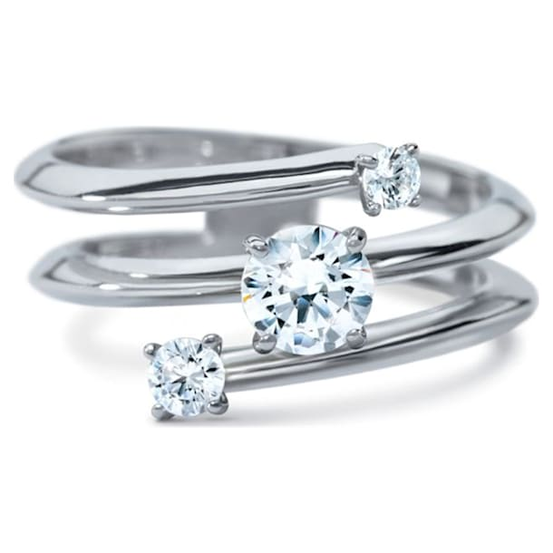 Intimate Spiral Ring, Swarovski Created Diamonds, 18K White Gold, Size 55 - Swarovski, 5524717