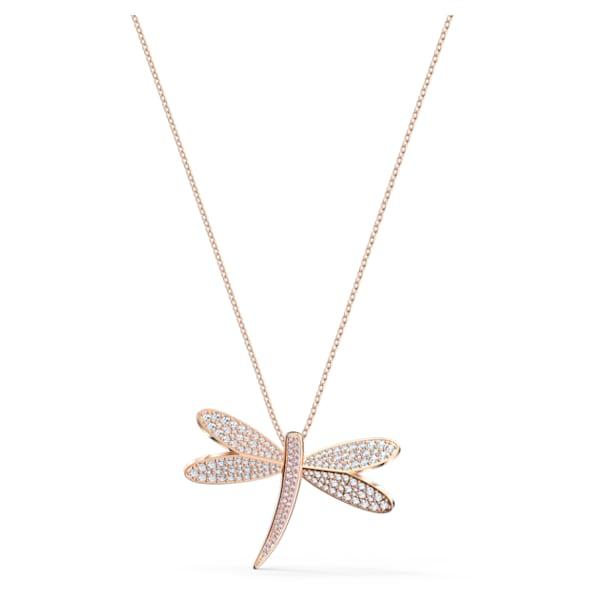 Eternal Flower necklace, Dragonfly, White, Rose gold-tone plated - Swarovski, 5524856