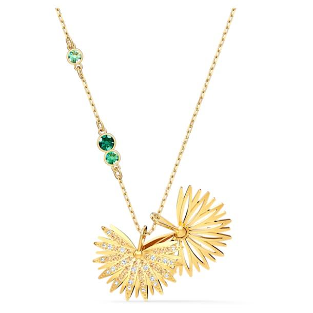 Swarovski Symbolic Palm Halskette, grün, vergoldet - Swarovski, 5525086