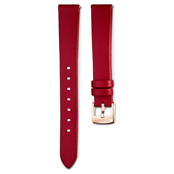 14mm Watch strap, Leather, Red, Rose-gold tone PVD - Swarovski, 5526319