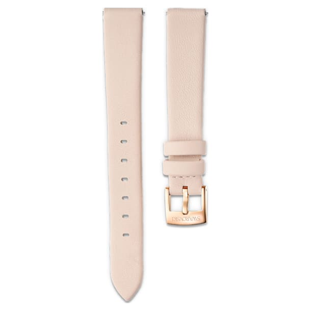 14mm Watch strap, Leather, Light pink, Rose-gold tone PVD - Swarovski, 5526323