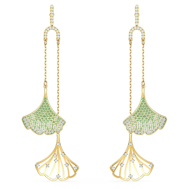 Boucles d'oreilles Stunning Gingko Mobile, vert, métal doré - Swarovski, 5527080