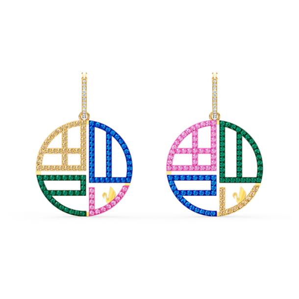 Full Blessing Fu Pierced Earrings, Dark multi-colored, Gold-tone plated - Swarovski, 5527276