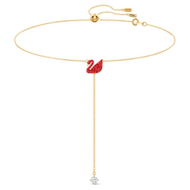 Iconic Swan Y形項鏈, 紅色, 鍍金色色調 - Swarovski, 5527408