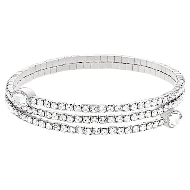 Twisty bangle, Pear cut crystals, White, Rhodium plated - Swarovski, 5528443