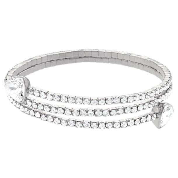 Twisty armband, Wit, Rodium toplaag - Swarovski, 5528444