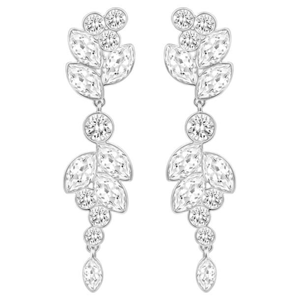 Diapason pierced earrings, White, Rhodium plated - Swarovski, 5528452