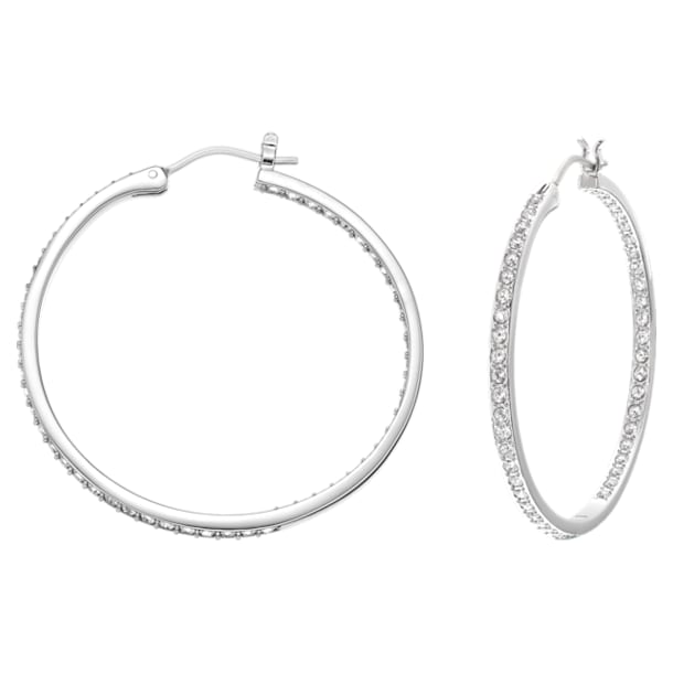스와로브스키 귀걸이 Swarovski Sommerset Hoop Pierced Earrings, White, Rhodium plated