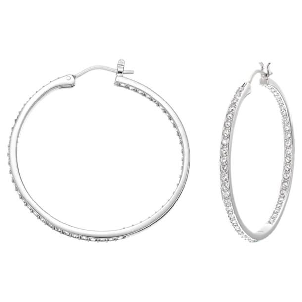 Sommerset Hoop Pierced Earrings, White, Rhodium plated - Swarovski, 5528457