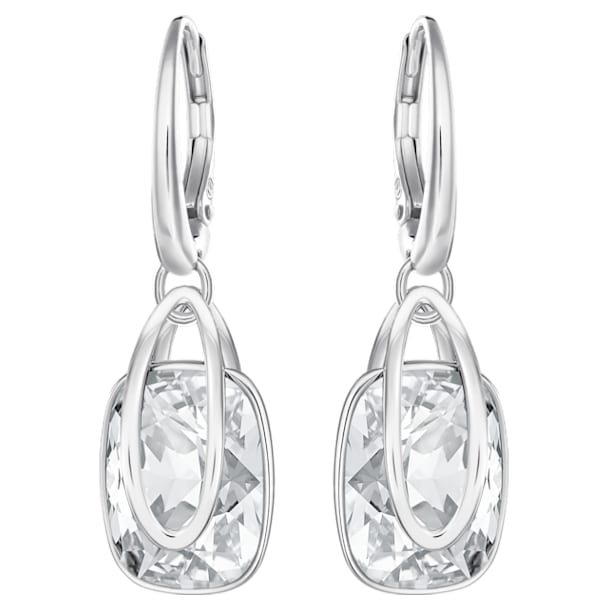 Holding Pierced Earrings, White, Rhodium plated - Swarovski, 5528487