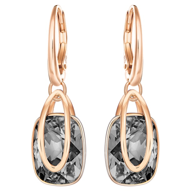 Holding Pierced Earrings, Black, Rose-gold tone plated - Swarovski, 5528488