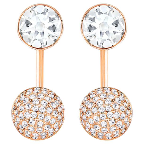 Forward pierced earring jackets, White, Rose-gold tone plated - Swarovski, 5528490