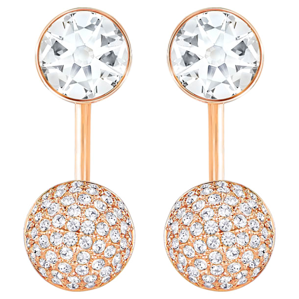 Forward Pierced Earring Jackets, White, Rose-gold tone plated - Swarovski, 5528490