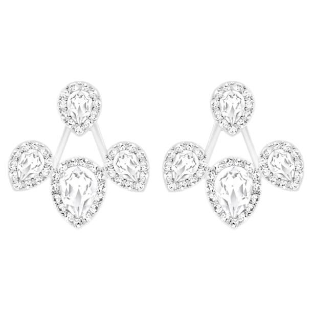 Laina pierced earring jackets, White, Rhodium plated - Swarovski, 5528494