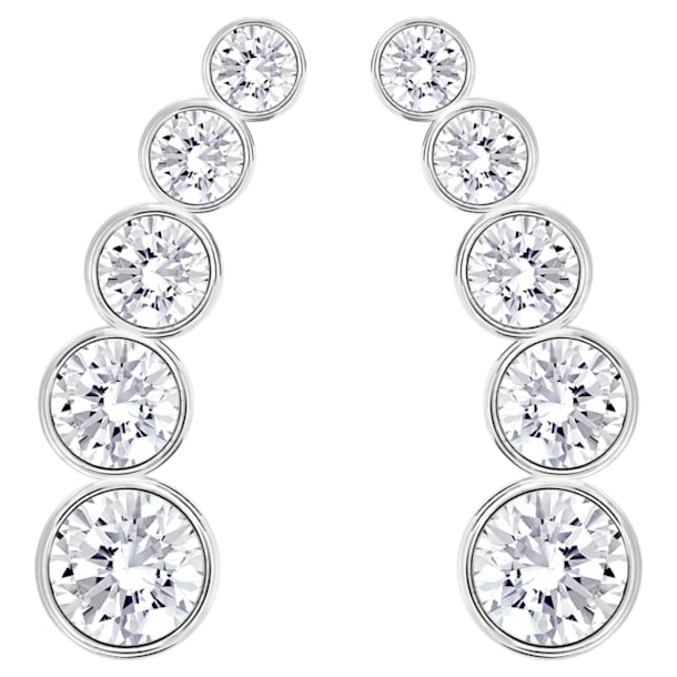 Harley earrings, White, Rhodium plated - Swarovski, 5528502