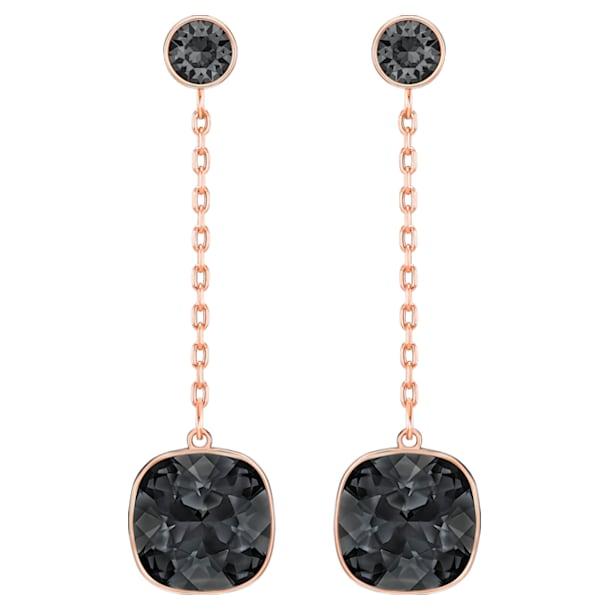 Lattitude Chain pierced earrings, Black, Rose-gold tone plated - Swarovski, 5528512