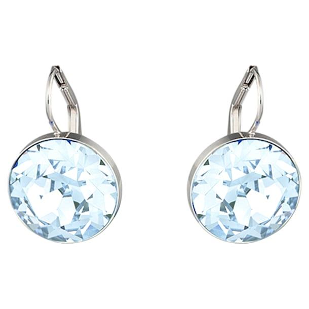 Bella Pierced Earrings, Blue, Rhodium plated - Swarovski, 5528515