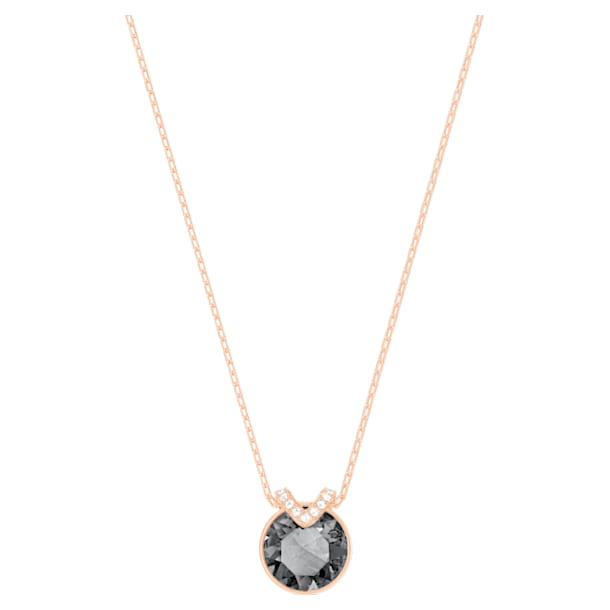 Bella V Pendant, Black, Rose-gold tone plated - Swarovski, 5528552