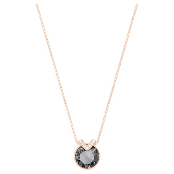 Bella V pendant, Black, Rose-gold tone plated - Swarovski, 5528552