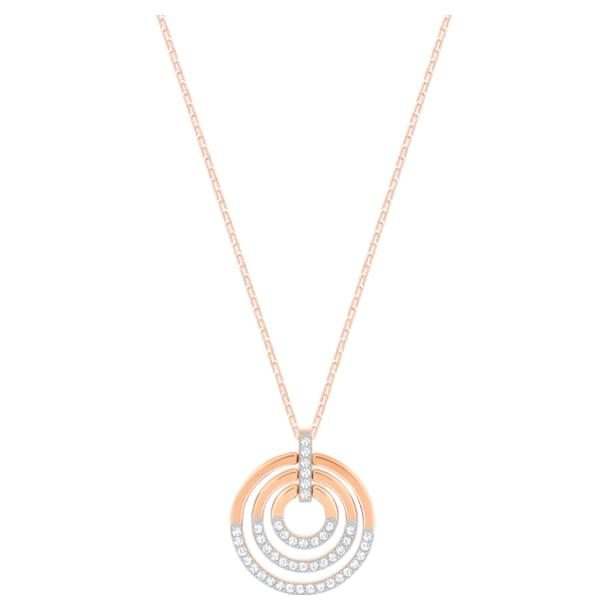 Pendentif Circle, Blanc, Métal doré rose - Swarovski, 5528565