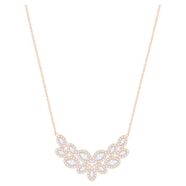 Baron Necklace, White, Rose-gold tone plated - Swarovski, 5528751