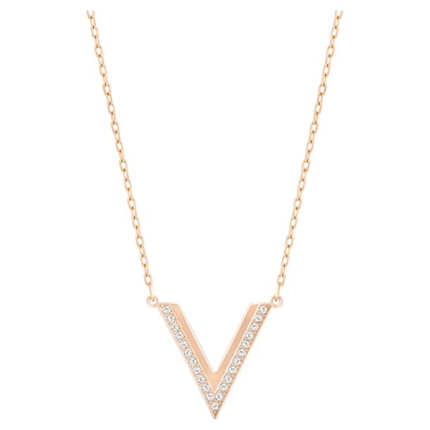 Collier Delta, Blanc, Métal doré rose - Swarovski, 5528910