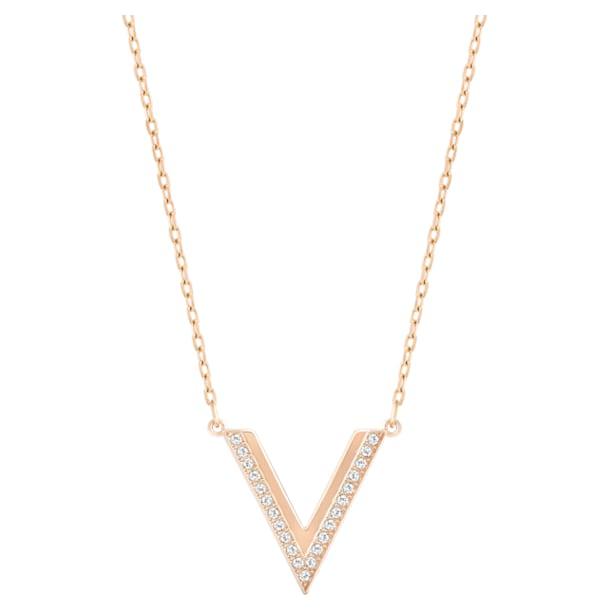 Náhrdelník Delta, Bílá, Pokoveno v růžovozlatém odstínu - Swarovski, 5528910