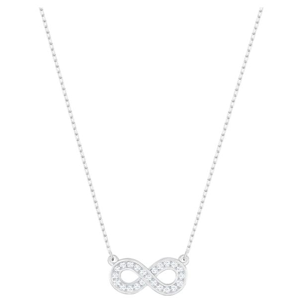 Collar Infinity, blanco, Baño de Rodio - Swarovski, 5528911