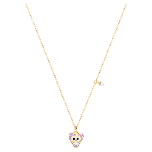 Little Snow Owl Pendant, Multi-coloured, Gold-tone plated - Swarovski, 5528913