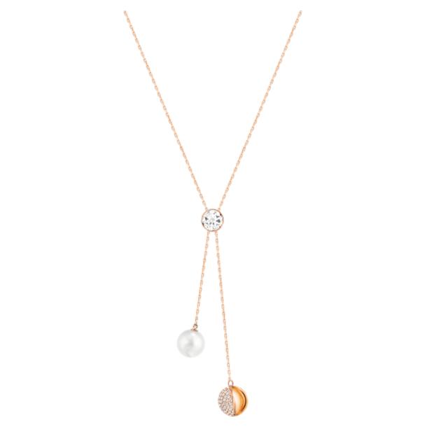 Forward Y necklace, White, Rose-gold tone plated - Swarovski, 5528924