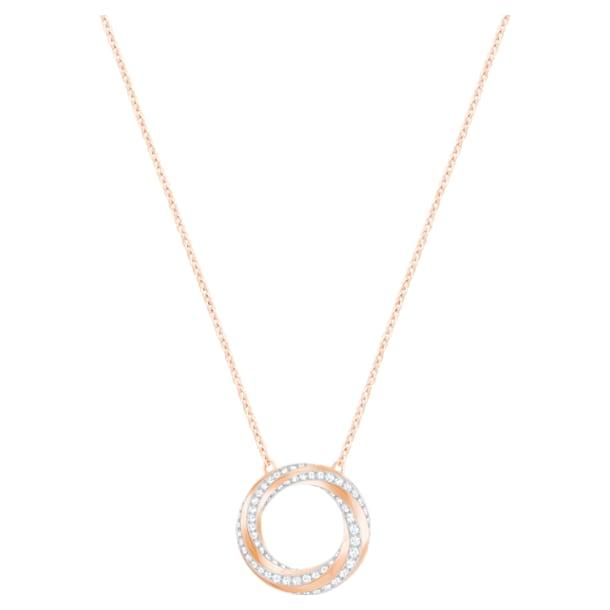 Hilt Necklace, White, Rose-gold tone plated - Swarovski, 5528930