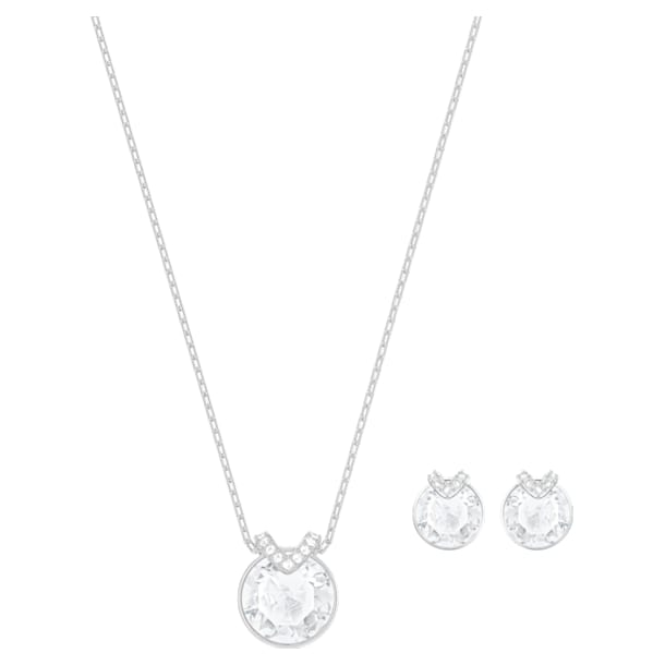 Set Bella V, bianco, Placcatura rodio - Swarovski, 5528937