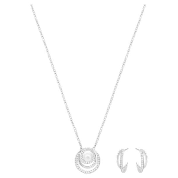Free Pearl set, Wit, Rodium toplaag - Swarovski, 5528946