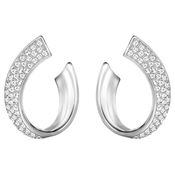 Exist Pierced Earrings, White, Rhodium plated - Swarovski, 5529348
