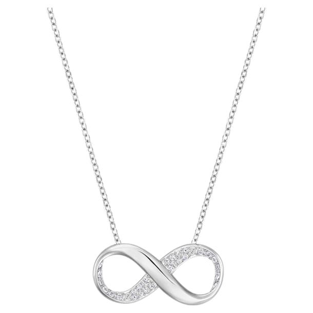 Exist pendant, Infinity, White, Rhodium plated - Swarovski, 5529395