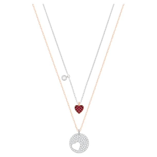 Crystal Wishes Heart pendant, Heart, Red, Mixed metal finish - Swarovski, 5529569