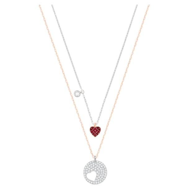 Wisiorek Crystal Wishes Heart, Serce, Czerwony, Wykończenie z różnobarwnych metali - Swarovski, 5529569