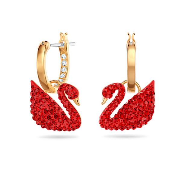 Iconic Swan 穿孔耳環, 紅色, 鍍金色色調 - Swarovski, 5529969