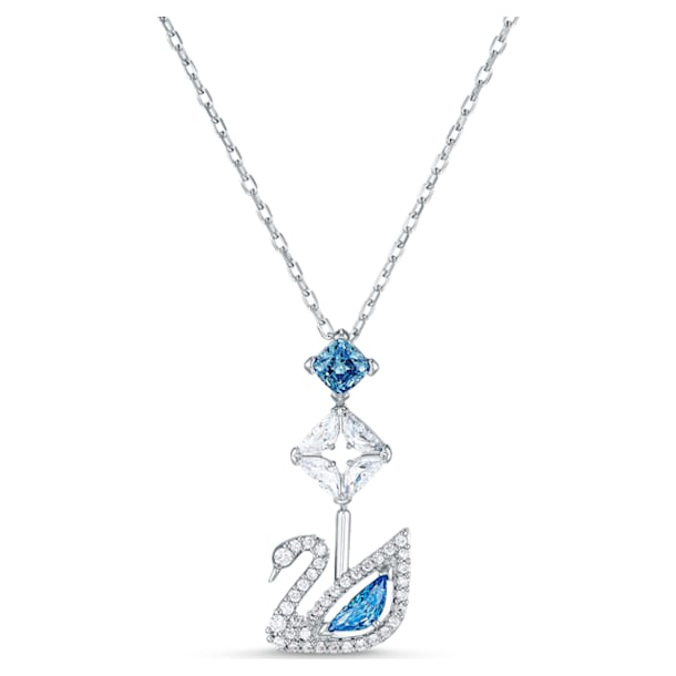 Dazzling Swan Y字型ネックレス, スワン, ブルー, ロジウム・コーティング - Swarovski, 5530625