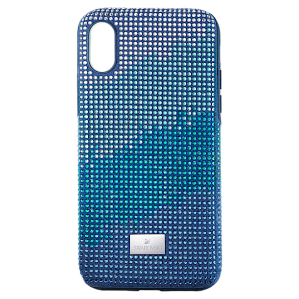 Coque rigide pour smartphone avec cadre amortisseur Crystalgram, iPhone® X/XS, bleu - Swarovski, 5532209