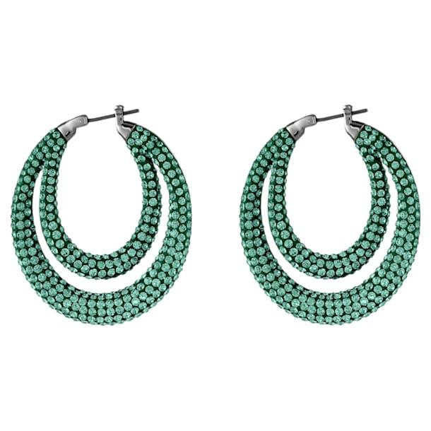 Tigris Hoop Pierced Earrings, Green, Ruthenium plated - Swarovski, 5532734